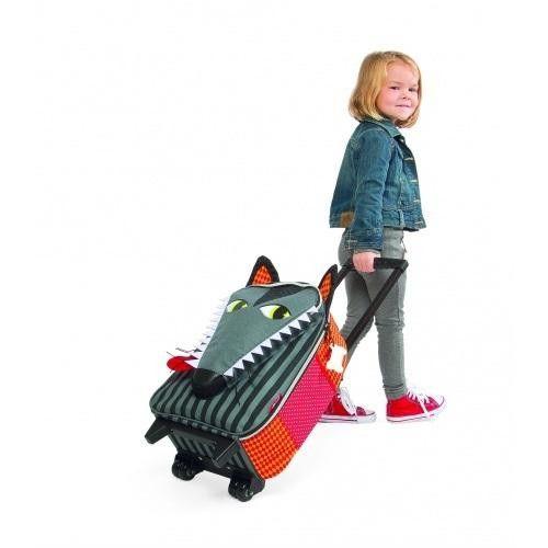 Janod Kids Luggage Suitcase Trolley, Wolf