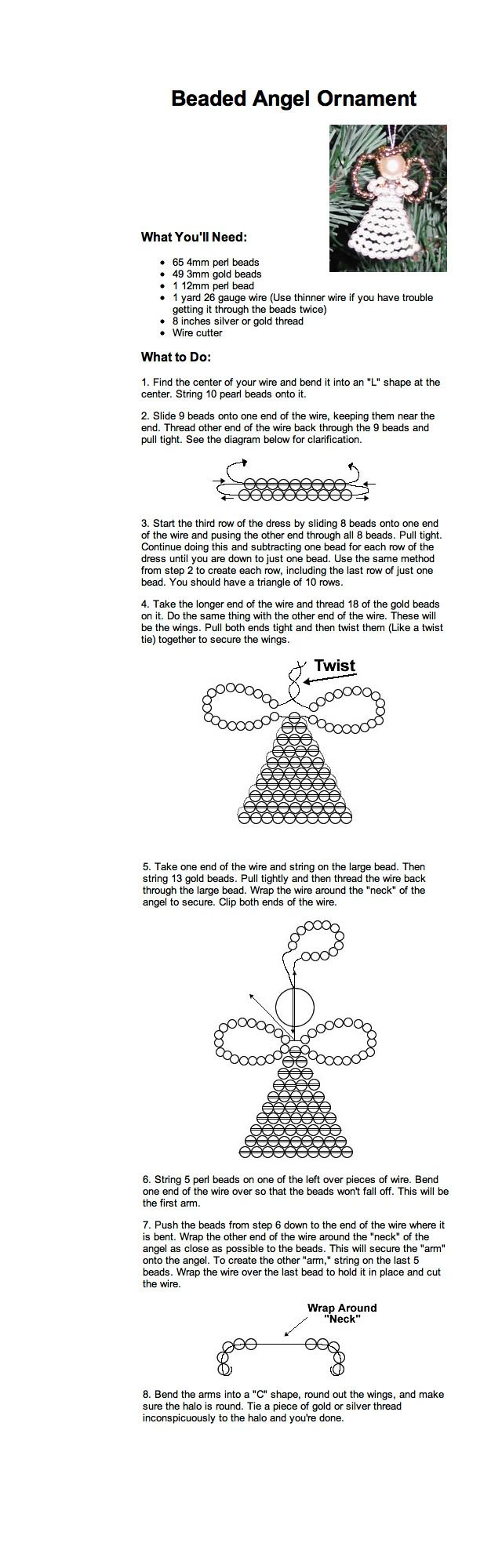 Large round christmas ornaments - Beaded Angel Ornament Instructions