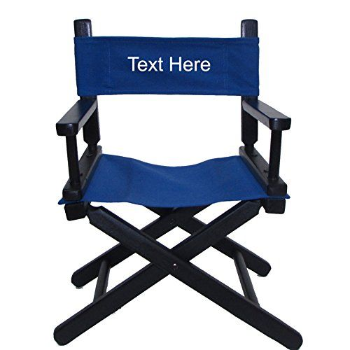 Fancy EMBROIDERED Personalized Black Frame Toddler us Directors Chair by Gold Medal Royal Blue Canvas Description of Embroidery Embroidery offers a very