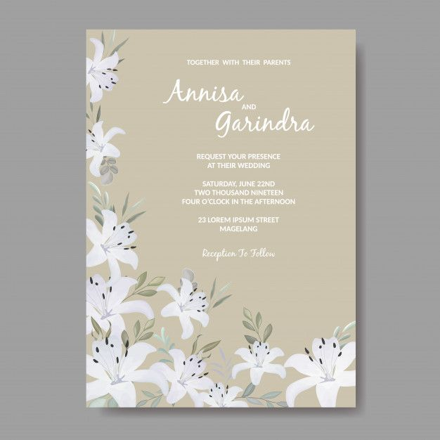 Elegant Wedding Invitations Card Template With White Floral And Leaves In 2021 Wedding Invitation Card Template Elegant Wedding Invitation Card Wedding Invitation Cards