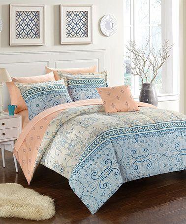 Light Blue Peach Skylar Eight Piece Bedding Set Zulily Zulilyfinds