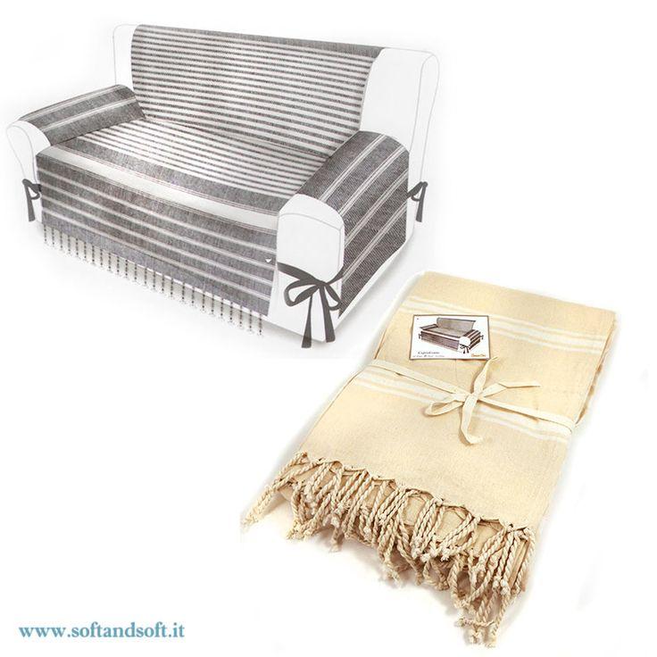 Telo+Copri+divano+Fouta+per+divano+due+posti+con+frange