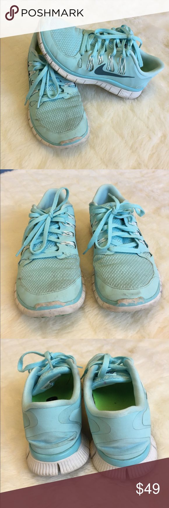 Nike Free 5.0, Tiffany Blue 8.5 Nike Free 5.0 Tennis Shoes in Tiffany Blue. Size 8.5. They're a bit dirty, but still in good shape and have a lot of life left in them. VERY comfortable! These also have the slot under the sole if you use a Nike Tracker Chip. Waffle sole. Nike Shoes Sneakers