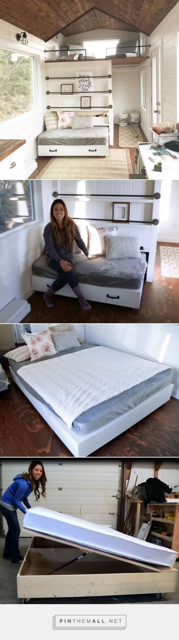 DIY Lift Storage Bed Trundle (Full-size) - Converts to Sofa for Tiny House Use
