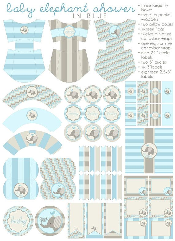 DIY PDF Printable Baby Boy, Baby Shower, Party Package, Baby Elephant Shower