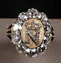 Napoléon's signet ring, by Etienne Nitot (today: Chaumet) - c. 1809, with 10.50 carats of diamonds and additional brilliants in gold. This is the only remaining example of ten similar rings commissioned by Napoléon. The Emperor gave this one to the Commander of his Honor Guard, Hans de Bruyère of Nimegue, during his honeymoon with Marie-Louise in September 1810.