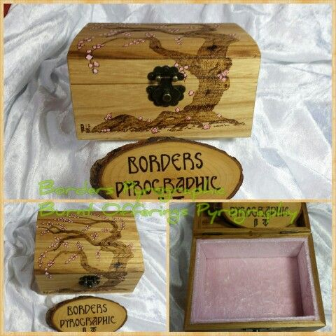 #pyrography #CherryBlossoms #Spring box. Burned by Tracey Glover