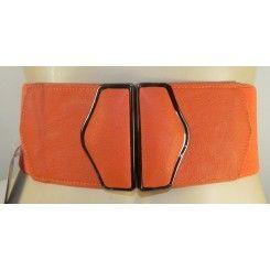 Impulse wide burnt orange artificial leather belt with elastic back