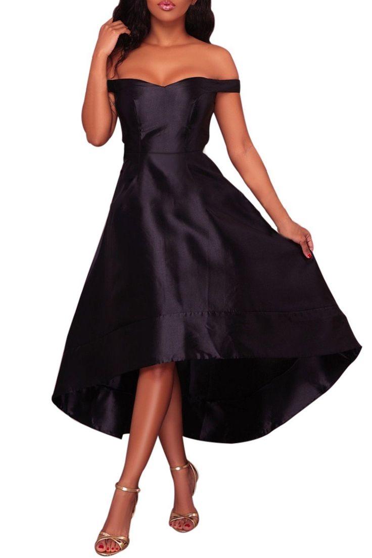 Robe de Soiree Noire Haute-Shine Courte Devant Longue Derriere Pas Cher www.modebuy.com @Modebuy #Modebuy #Noir #style #occasion #vintage #classy