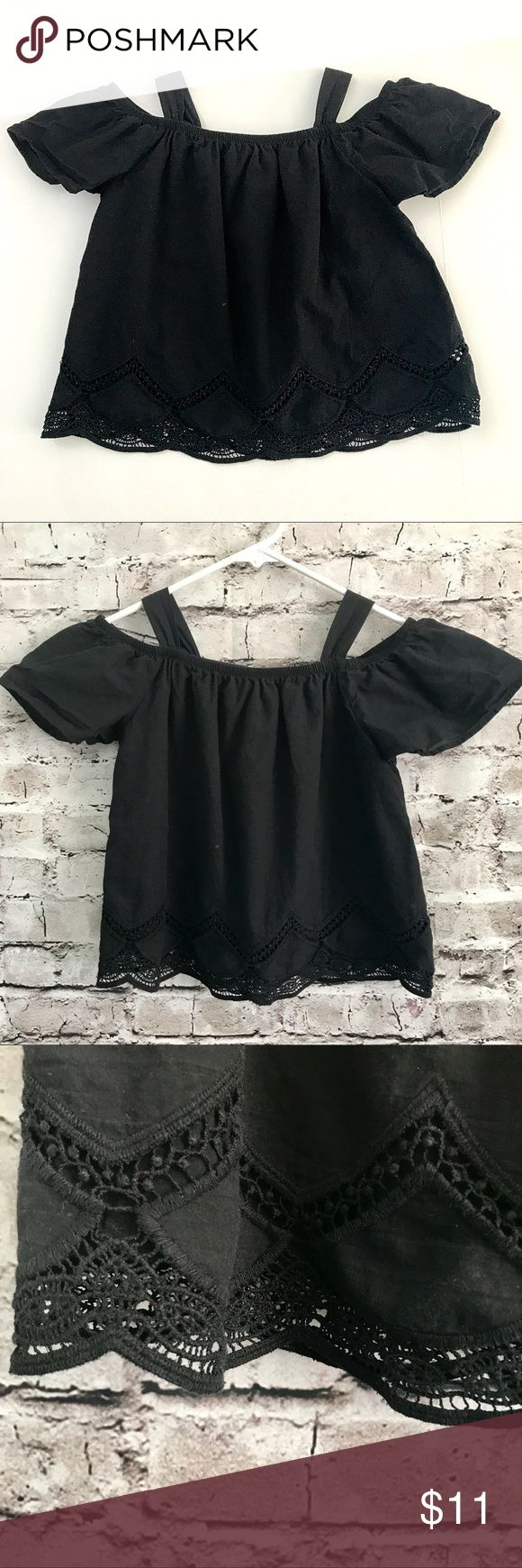 ‼️Cat & Jack Girls Cold Shoulder Lace Top‼️ Art Class  Girls cold shoulder top A line design.  Cold shoulder but has 2 straps that keep the Top in place.  Lace trim on the bottom. Elastic on the shoulders.  Has a Fiesta Vibe to it! Great for a party! This is such a cute special Top for a little girl. (Well, not that little)  Size is Girls 6/6X Adorable w leggings or a skinny jeans and booties! Goes w anything! It's all black!  Great Condition! 100% Cotton!  Machine washable  Length 14' Art…