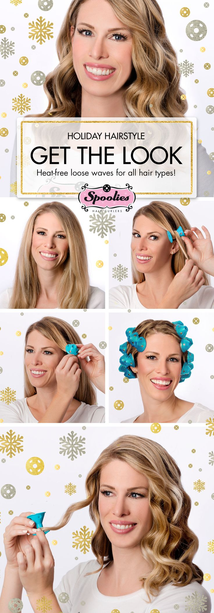 5 steps to soft holiday waves & curls with Spoolies heat-free hair curlers.