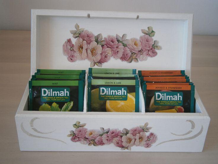 Decoupage box for tee, pudełko, herbaciarka #decoupage #box #tee #pudełko #herbaciarka