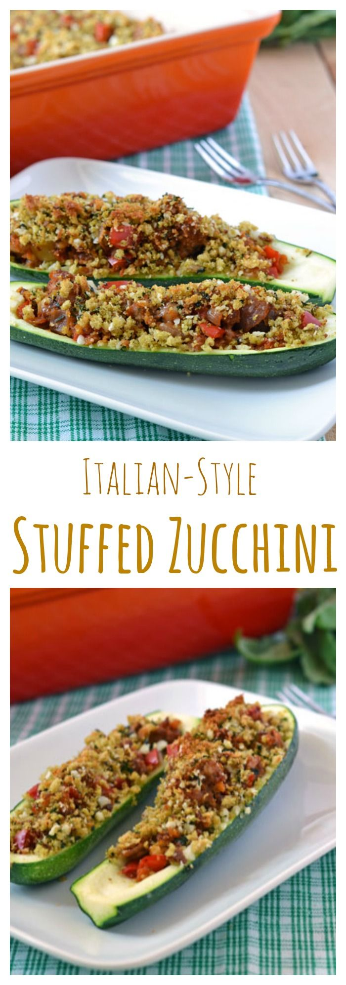 Italian stuffed zucchini boats. A light and healthy summer dinner! Filled with turkey sausage, tomatoes, and topped with crunchy bread crumbs, this is sure to be a family favorite!