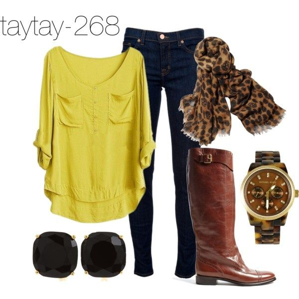 Blouse, jeans, boots  scarf. Perfect Fall outfit!