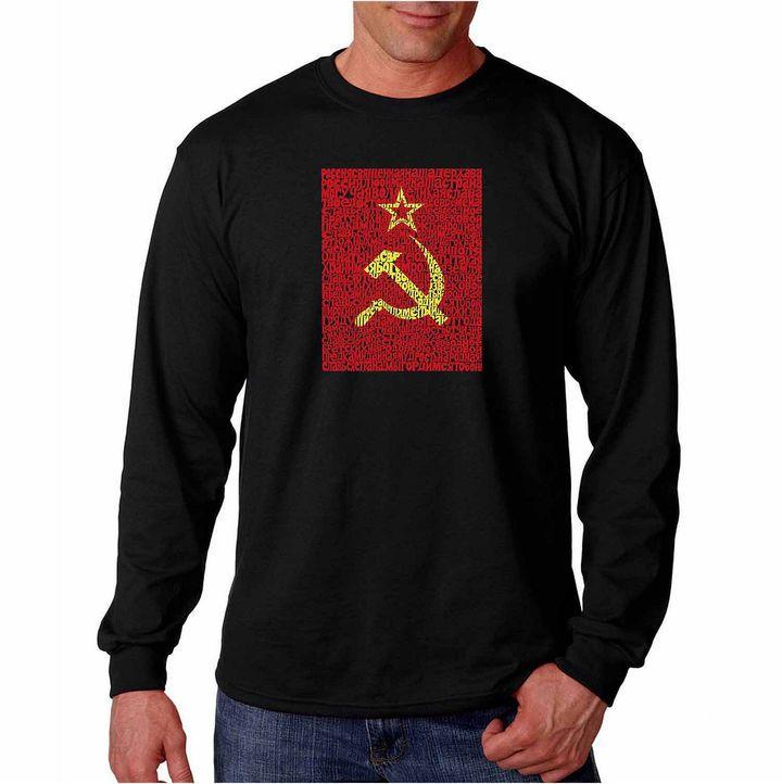 LOS ANGELES POP ART Los Angeles Pop Art Long Sleeve Lyrics to the Soviet National Anthem Word Art T-Shirt