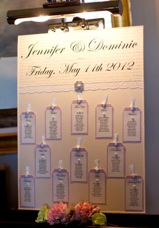 pretty homemade wedding table plan