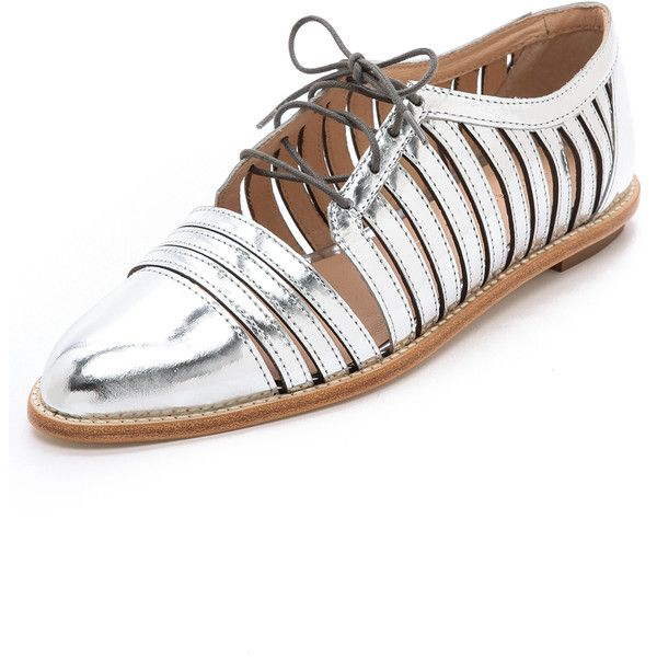 See this and similar Loeffler Randall oxfords - Cutaway detailing looks clean and modern on metallic leather Loeffler Randall oxfords. The toe tapers to a neat...