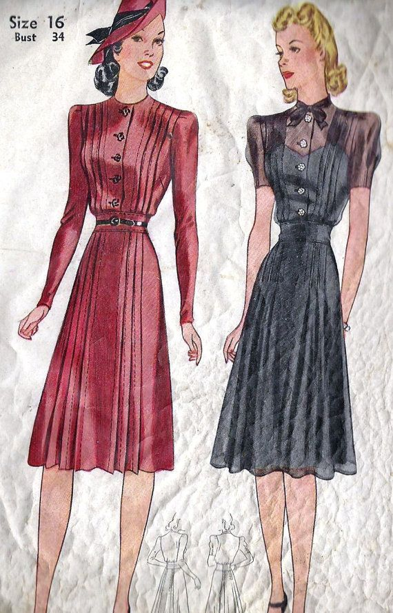 """1940s Misses Tailored Dress Vintage Sewing Pattern Simplicity 3523 Bust 34"""". $25.00, via Etsy."""