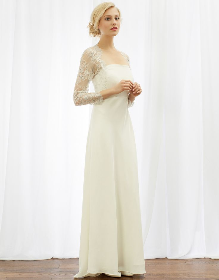 Love this simple, elegant design, especially the lace sleeves. Catherine Bridal Dress from Monsoon