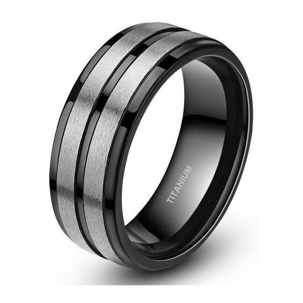 Men's Silver Black Ring 8mm Titanium BLACK Men's Wedding Band... ($25) ❤ liked on Polyvore featuring men's fashion, men's jewelry, men's rings, mens diamond band wedding ring, mens watches jewelry, mens titanium wedding rings, mens rings and mens band rings