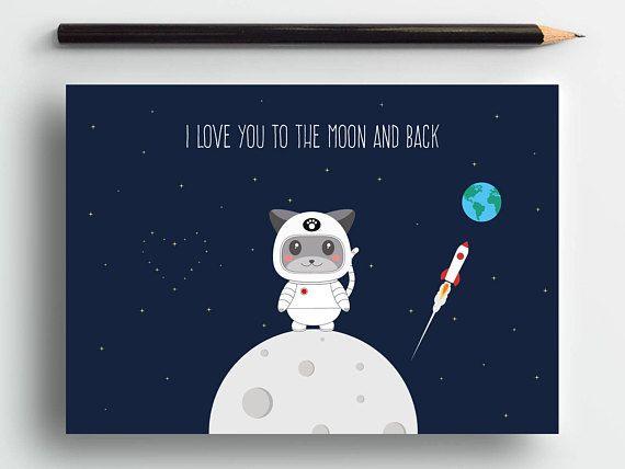 Cute love card, space cat card, cat anniversary card, romantic card, cute animal card, cat lover card, cute cat card, sweet card, pets card