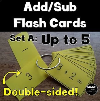 These REVERSIBLE flash cards are a great way to encourage independence. Students are able to work out the answer then FLIP OVER to check if they were right! A4 sized resource. Suitable for NZ/AU/UK students learning addition and subtraction facts to 5. (New Zealand Numeracy Project Stage 1 and 2.) ***************************************************************************** PDF File includes: 126 cards (10 per