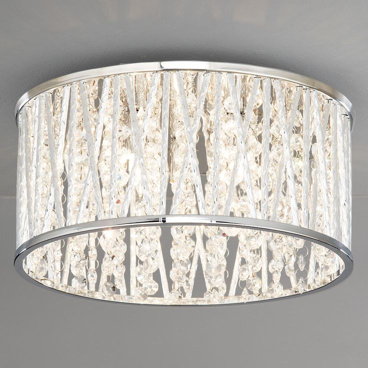 Drum Ceiling Light with Crystals