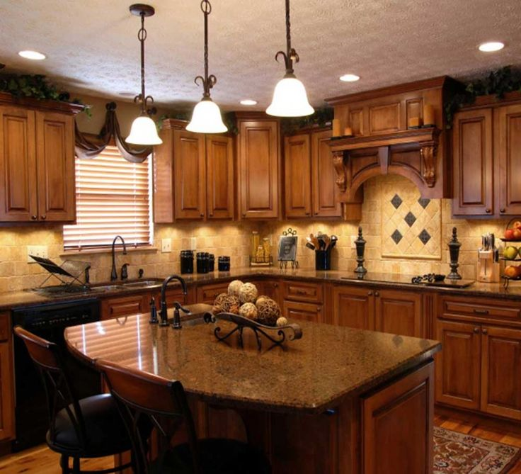 Lighting. Excellent Design Ideas Of Kitchen Linear Lights. Amazing Kitchen Linear Lights With Three Rustic Pendant Lamps And Ceiling Recessed Lights And Brown Wooden Kitchen Cabinets Along With Brown Kitchen Island Also Puck Lights Under Kitchen Cabinets And Brown Granite Countertops Also Double Bowl Kitchen Sink.