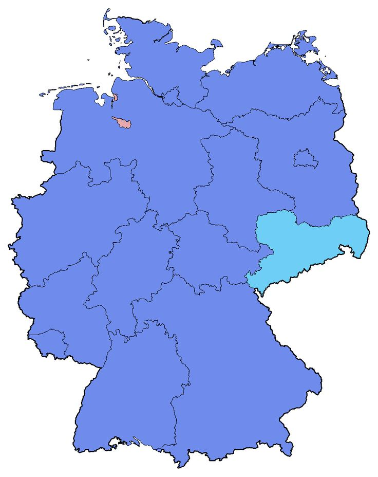 Electoral map showing the party list vote results of the 2017 German elections by state. Light blue denotes states where the CDU/CSU had the plurality of the votes; cyan denotes states where the AfD had the plurality of the votes, and pink denotes states where the SPD had the plurality of the votes