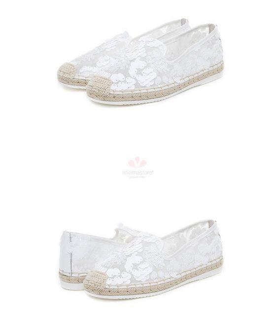 Wedding espadrilles. Round toe Cotton Rubber sole Wedding shoes