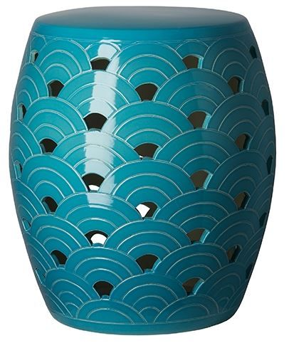 Simple And Classic Wave Garden Stool In Turquoise Glaze. Free Shipping.