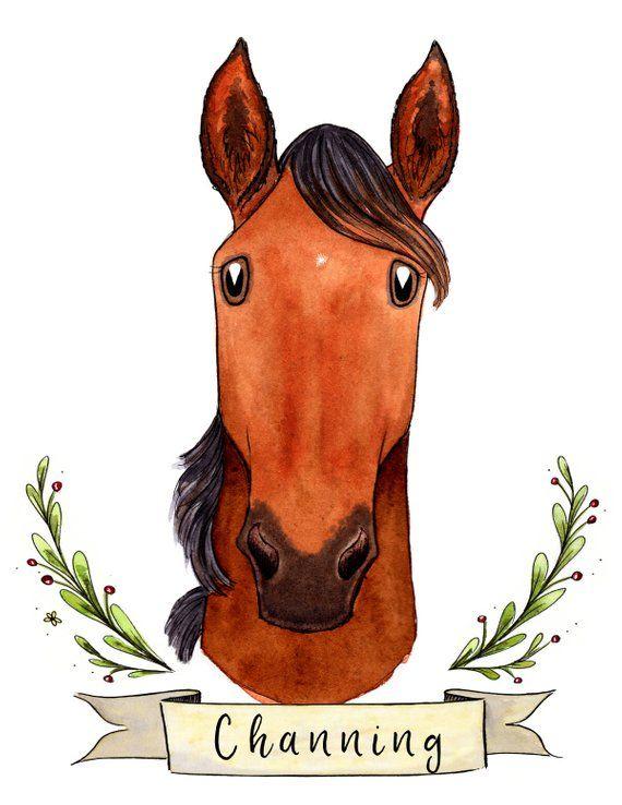 Lover Equestrian Portrait IllustrationEtsy Gift Horse 5AjLqR34