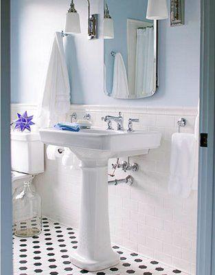 cornflower blueSmall Bathroom, Black And White, Blue Wall, Bathroomideas, White Subway Tile, White Bathroom, Bathroom Ideas, Tile Bathroom, Subway Tiles