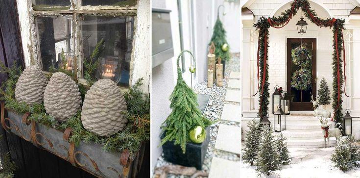 Juldekorationer ute är ett sätt att fortsätta vara kreativ i trädgården med växter och andra material. Det är lättast att koncentrera juldekorationerna kring entrén och skapa härliga färgklickar som välkomnar i vintermörkret.