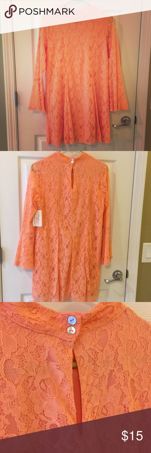 Red Dress Boutique Lace Dress Beautiful Coral Dress Never Worn With Tags! Peach Love California Dresses Long Sleeve