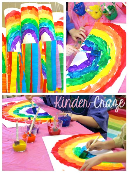 bright Rainbow Windsocks with crepe paper streamers - perfect for Spring!