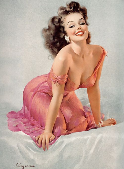 Gil Elvgren, duhh... but notice, even from the inspired Gatspy 20's... they still showed graphic detail, lol.  I actually love the off-the-shoulder's look!
