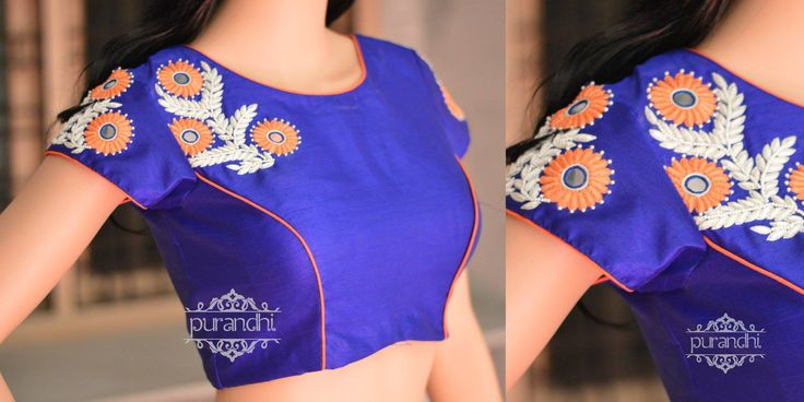 Royal Blue and Orange !!!Blouse Color and Size can be customized according to your measurements.For more details contactus us through whats app : 9063534017 or Email : purandhistore@gmail.com 16 December 2016