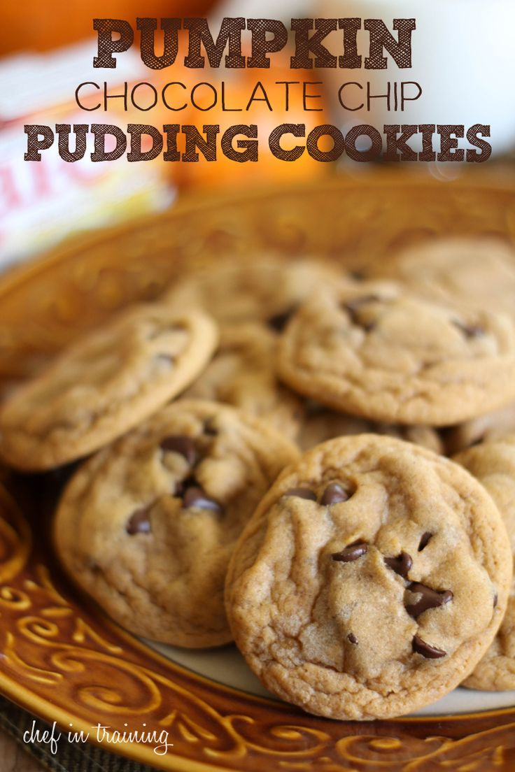 Pumpkin Chocolate Chip Pudding Cookies  INGREDIENTS   Print This Recipe 3/4 cup butter softened 3/4 cup brown sugar 1/4 cup sugar 1 small pkg. pumpkin spice instant pudding mix 2 eggs 1 tsp. vanilla 1 tsp. baking soda 2 1/4 cup flour 1-2 cups semi-sweet chocolate chips