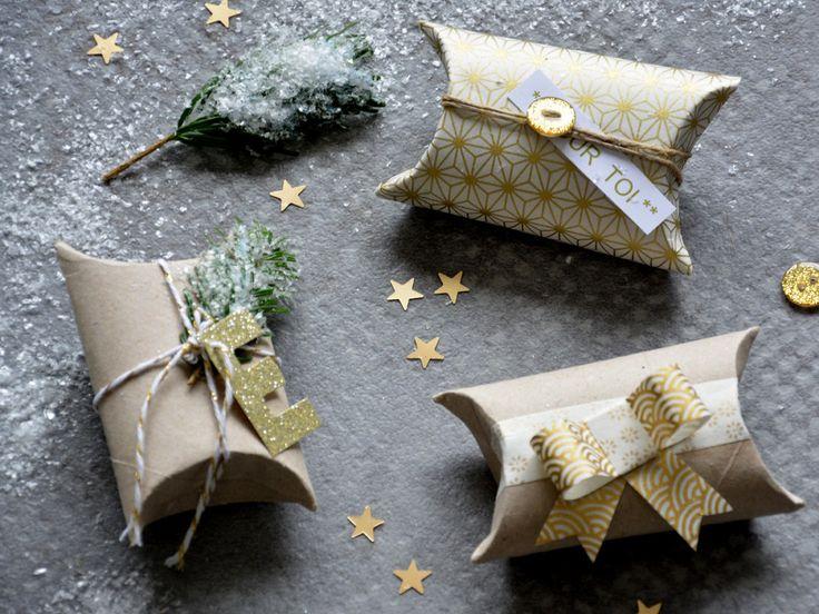 Voici une idée astucieuse de mini paquets cadeaux réalisés avec des rouleaux de papier toilette !