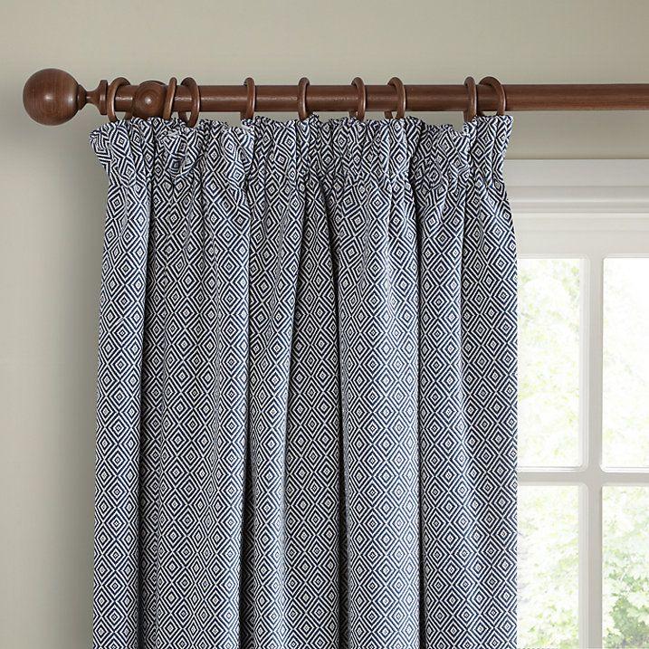 Buy John Lewis Mara Diamond Lined Pencil Pleat Curtains, Indian Blue, W167 x Drop 137cm Online at johnlewis.com