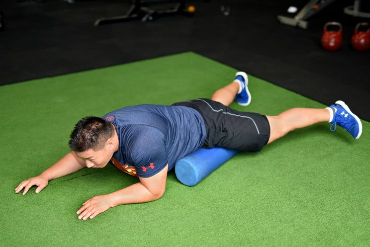 Adductor Massge. Lie on your front, grab a foam roller and place it on your lower left thigh. Rotate your foot away from your body so that the adductor is placed on the foam roller. With the aid of your hands roll  forward and backwards for 30 seconds to release tension in the adductors. Massage the other adductor.