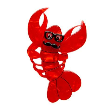 Roland The Lobster Rock (Red Resin Brooch)