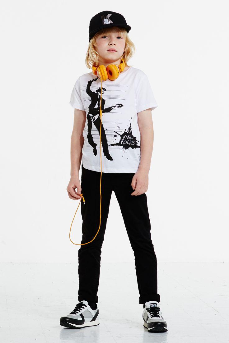 Karl Lagerfeld Kids Boys White 'Rock Chic' T-Shirt