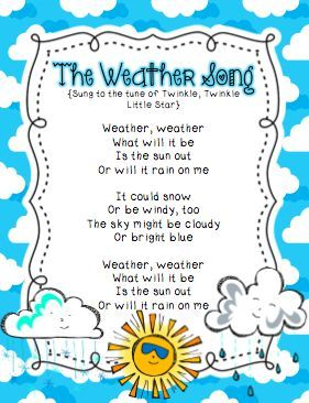 """Weather Song (Tune: """"Twinkle, Twinkle, Little Star"""") & Other Activities"""
