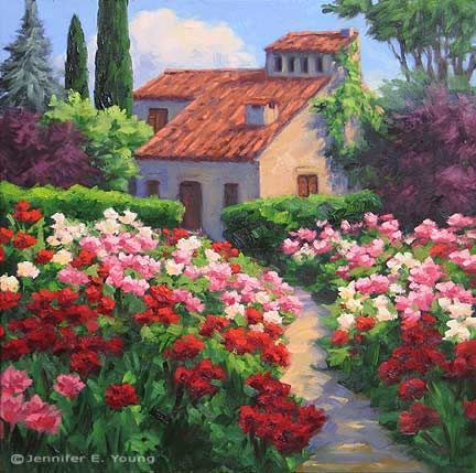 Fresh off the studio easel is a new painting of a beautiful rose garden, jenniferyoung.com