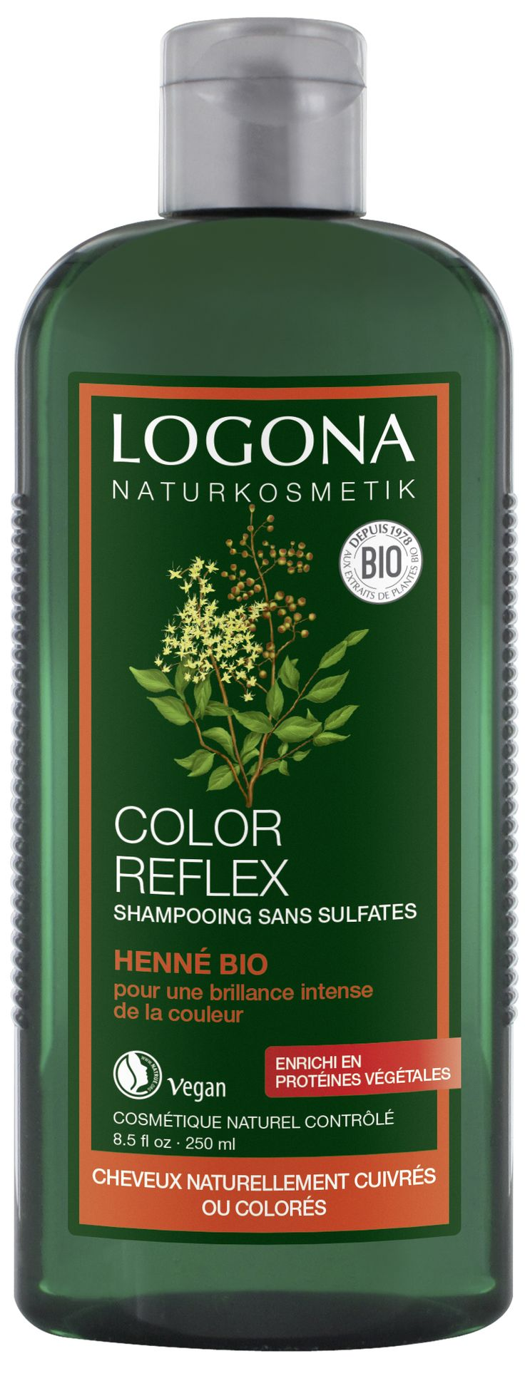 SHAMPOOING COLOR REFLEX HENNÉ BIO, CHEVEUX NATURELLEMENT CUIVRÉS OU COLORÉS, LOGONA - 250ml / 10,50€ Le shampooing Color Reflex Henné LOGONA, est spécialement formulé pour les cheveux naturellement auburn, roux ou colorés. Enrichi en henné bio, ce soin apporte brillance, multiplie les reflets, ravive l'éclat naturel des cheveux cuivrés ou colorés et prolonge également les colorations végétales tout en les protégeant. Délicatement nettoyés, les cheveux sont doux, souples et faciles à coiffer.