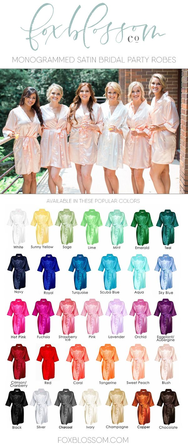 Personalized, monogrammed satin robes from Foxblossom Co. |  Beautiful bridesmaid gifts!   shop at www.foxblossom.com