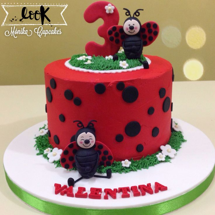 Torta de mariquitas en buttercream  ladybug cake