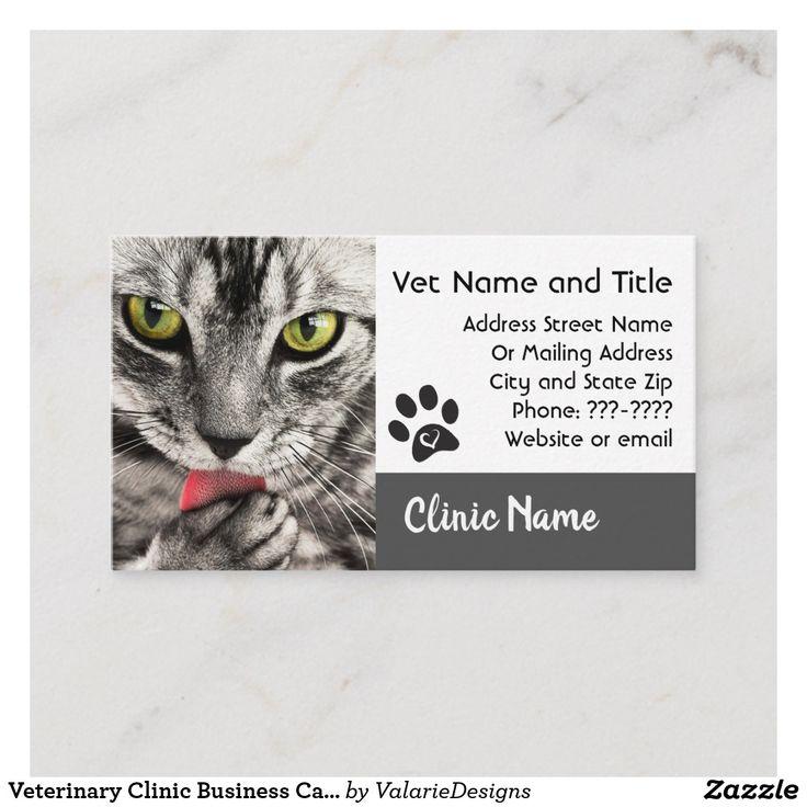 Veterinary Clinic Business Card Cat Photo